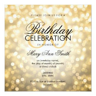 Elegant 80th Birthday Party Gold Glitter Lights 13 Cm X 13 Cm Square Invitation Card