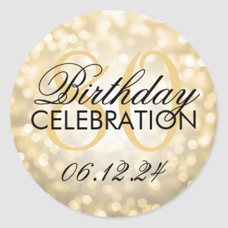Elegant 80th Birthday Party Gold Glitter Lights Classic Round Sticker