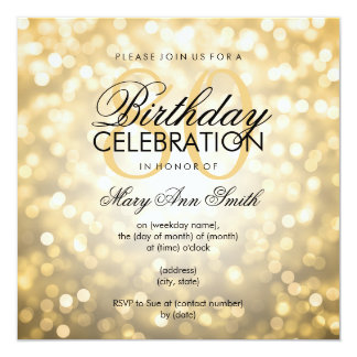 Elegant 80th Birthday Party Gold Glitter Lights 13 Cm X 13 Cm Square Invitation Card