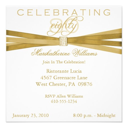 Elegant 80th Birthday Party Invitations