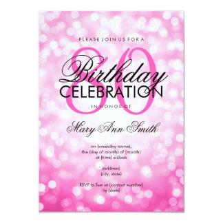 Elegant 80th Birthday Party Pink Glitter Lights 11 Cm X 16 Cm Invitation Card