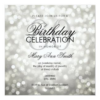 Elegant 80th Birthday Party Silver Glitter Lights Card