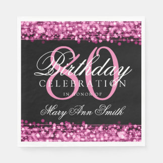 Elegant 80th Birthday Party Sparkles Pink Disposable Serviette