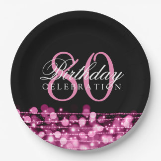Elegant 80th Birthday Party Sparkles Pink Paper Plate