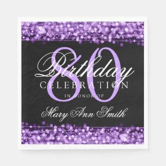 Elegant 80th Birthday Party Sparkles Purple Disposable Napkin