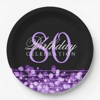 Elegant 80th Birthday Party Sparkles Purple Paper Plate