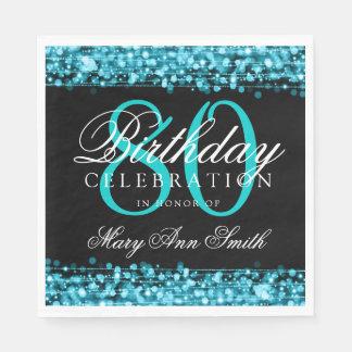 Elegant 80th Birthday Party Sparkles Turquoise Paper Serviettes