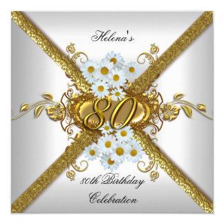 Elegant 80th Birthday Party White Daisy Gold 13 Cm X 13 Cm Square Invitation Card