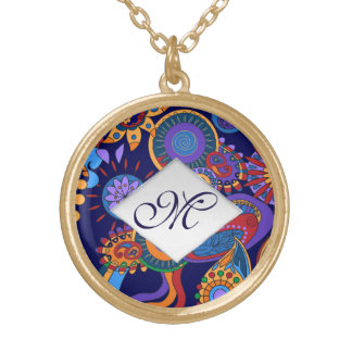 Elegant abstract bright colorful design monogram gold plated necklace