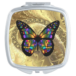 Elegant Abstract Butterfly Square Compact Mirror