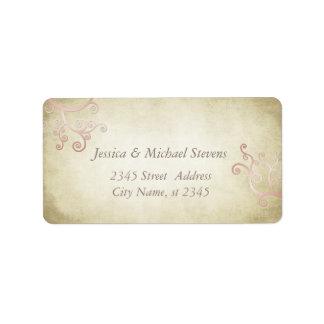 Elegant abstract floral vintage wedding label