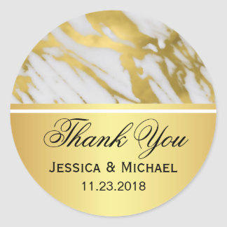 Elegant Abstract Gold and White Marble Wedding Round Sticker