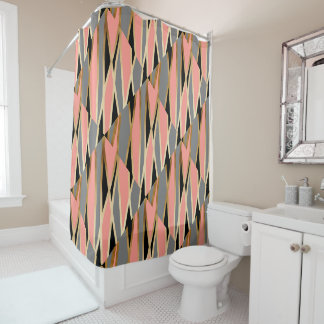 elegant abstract gold foil black grey coral pink shower curtain