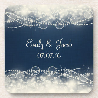 Elegant Abstract Lace and Pearls Wedding Coasters