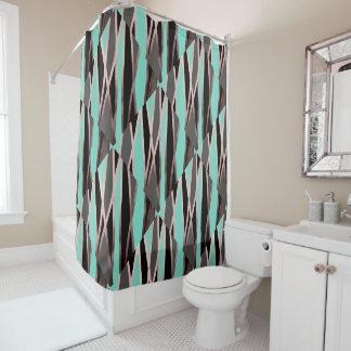 elegant abstract rose gold foil black grey mint shower curtain