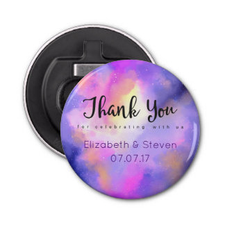Elegant Abstract Watercolor Wedding Thank You Bottle Opener