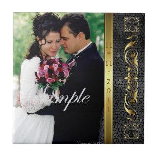 Elegant Add Your Photo Black Wedding Scroll Tile