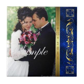 Elegant Add Your Photo Blue Wedding Scroll Tile