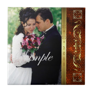 Elegant Add Your Photo Orange Wedding Scroll Tile
