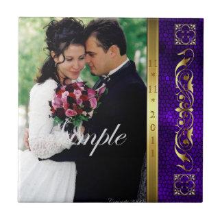 Elegant Add Your Photo Purple Wedding Scroll Tile