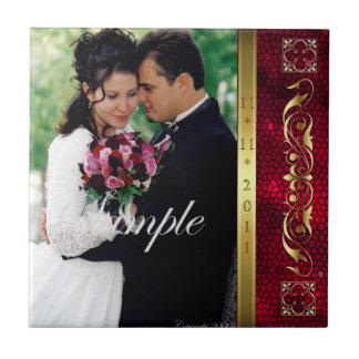Elegant Add Your Photo Red Wedding Scroll Tile