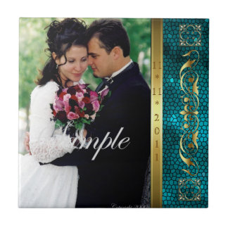 Elegant Add Your Photo Teal Wedding Scroll Tile