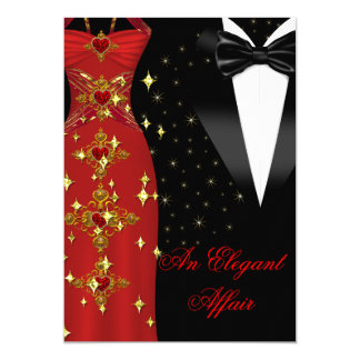 Elegant Affair Red Dress Black Tie Gold Birthday 13 Cm X 18 Cm Invitation Card