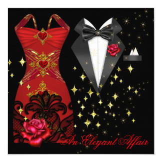 Elegant Affair Red Dress Black Tie Gold Red Rose 5 13 Cm X 13 Cm Square Invitation Card