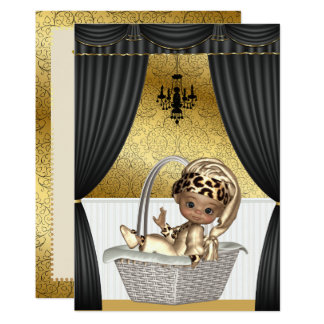 Elegant African American Ethnic Baby Shower Card