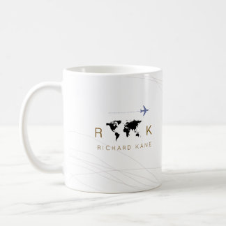 elegant airplane + map monogrammed on white coffee mug