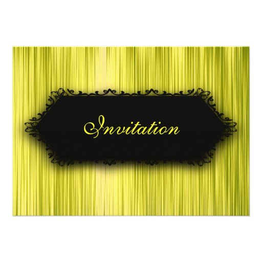 Elegant All Events Black Yellow Lime Curtain Custom Invite