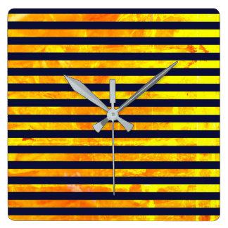 Elegant amber ant stripes pattern clocks