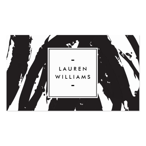 Elegant and Abstract Black and White Brushstrokes Business Cards