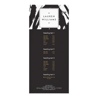 Elegant and Abstract Black and White Brushstrokes Full Colour Rack Card