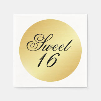 Elegant and Chic Gold Sweet 16 Paper Napkin