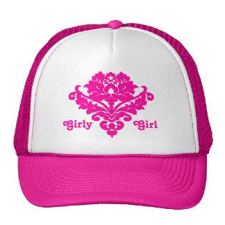 Elegant and classy victorian damask motif fuschia cap
