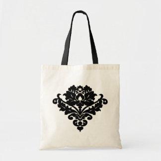 Elegant and classy victorian damask motif in black budget tote bag