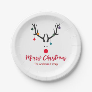 Elegant and cute Christmas reindeer in white red Paper Plate
