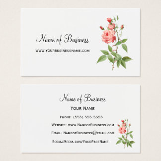 Elegant and Feminine Pink Rose Floral Business Card