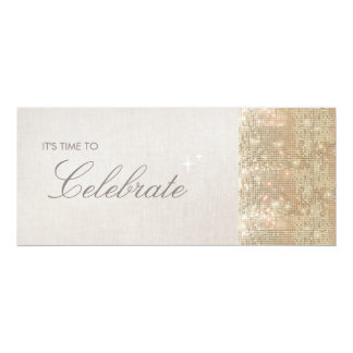 "Elegant and Festive Sparkly Gold Sequins Party 4"" X 9.25"" Invitation Card"