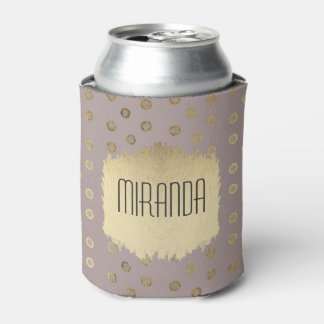 Elegant and Girly Faux Gold Glitter Dots Beige Can Cooler