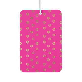 Elegant and Girly Faux Gold Glitter Dots Hot Pink Car Air Freshener