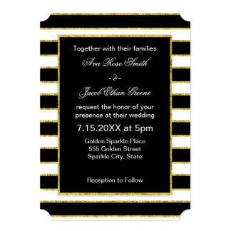 Elegant and Modern Black, White, Faux Gold Stripes Card