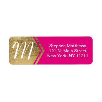 Elegant and Modern Faux Gold & Neon Pink Monogram Return Address Label