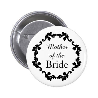 Elegant and simple wedding mother of the bride 6 cm round badge