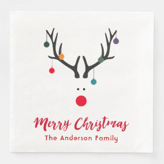 Elegant and stylish Christmas reindeer white red Paper Serviettes