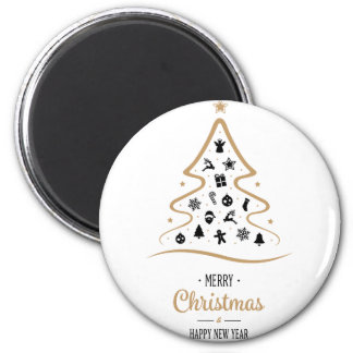 Elegant and Unique Christmas Tree Simple 6 Cm Round Magnet