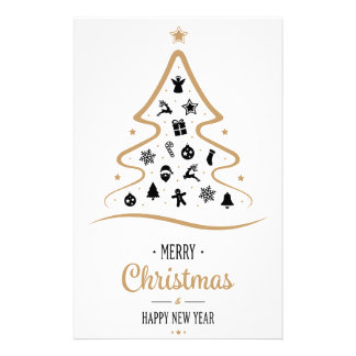 Elegant and Unique Christmas Tree Simple Personalized Stationery