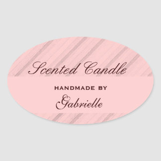 Elegant and wimzical pink stripe oval sticker