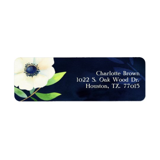 Elegant Anemone Navy Blue Wedding Address Return Address Label